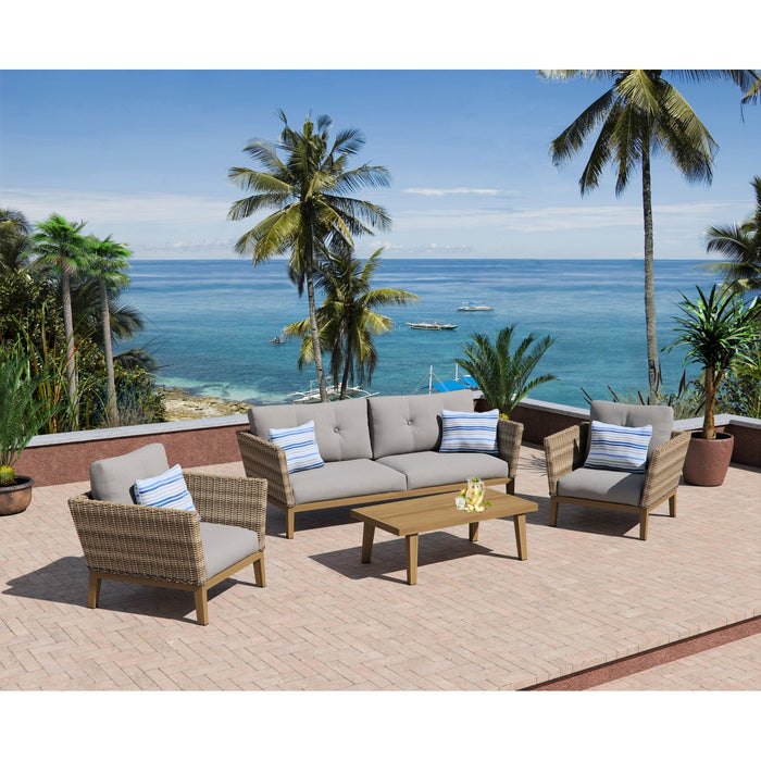 Torcello Collection 4-Piece Aluminum Rattan Seating Set with Sunbrella Cushions