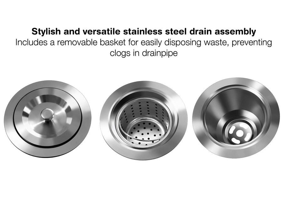 Prestige Series Farmhouse Apron Undermount Stainless Steel 33 in. 50/50 Double Bowl Handmade Sink with Grid and Strainer