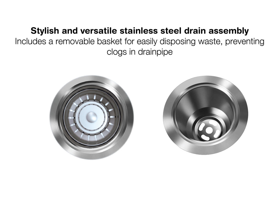 Capri Series Undermount Stainless Steel 32 in. Single Bowl Kitchen Sink in Satin Finish with Strainer