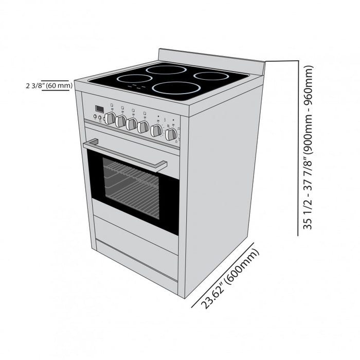 Gourmet 24 in. Vitroceramic with Convection Oven Freestanding Range