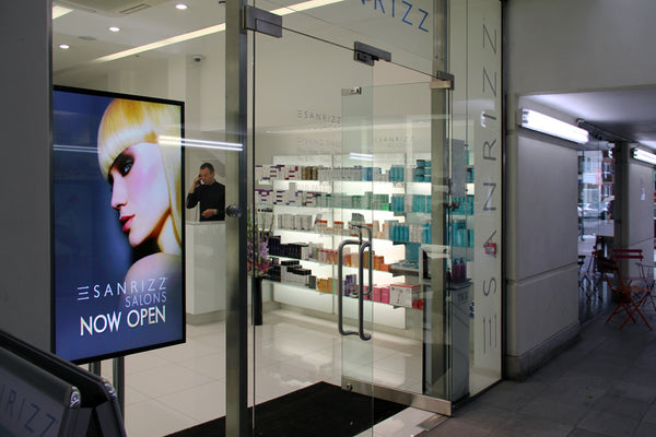 High Brightness Digital Window Display in Salon