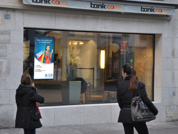 High Brightness Digital Window Display in Bank