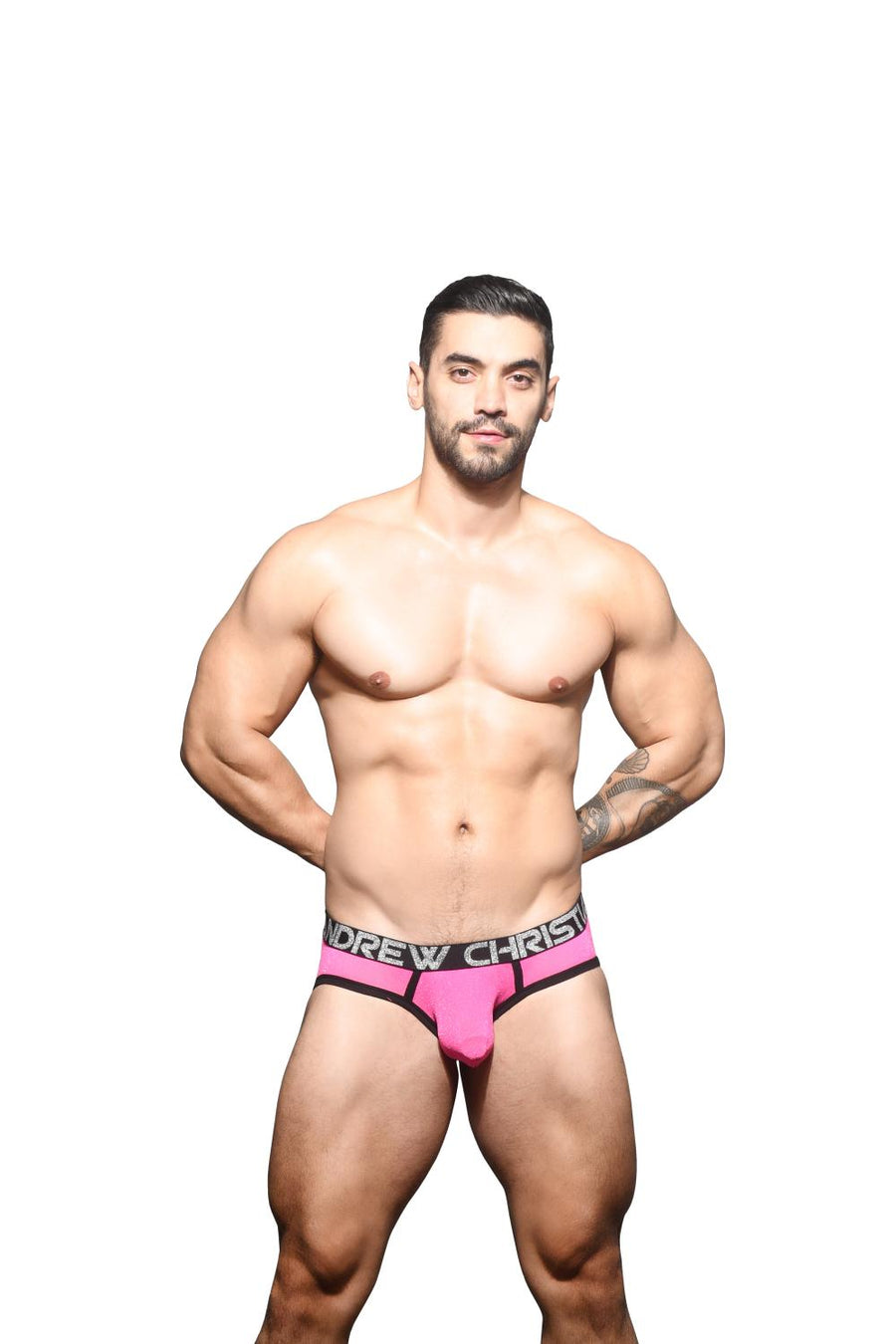 Andrew Christian Sugar Sparkle Sheer Brief 92002 Roze slip heren