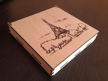 Paris London Venice Wood Coasters