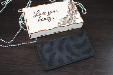 Feather Leather Wallet