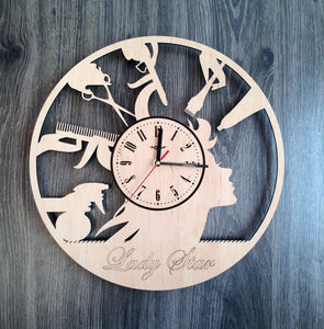Hairdresser Barber Shop Wood Clock