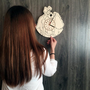 Lady and the Tramp Wall Wood Clock