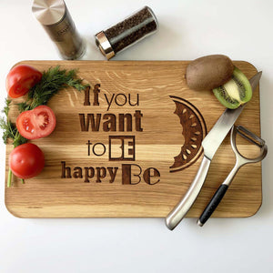 Be Happy Wooden Cutting Board 25 x 40