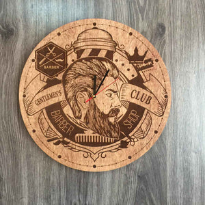 Large Barber Shop Wood Clock in Oak Color 15.7""