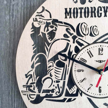 Motorcycles Wood Clock