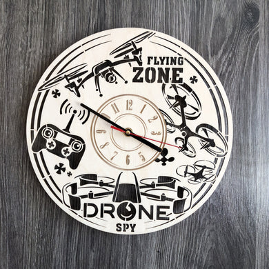 Drones Wall Wood Clock