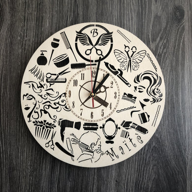 Hairdresser Wall Wood Clock