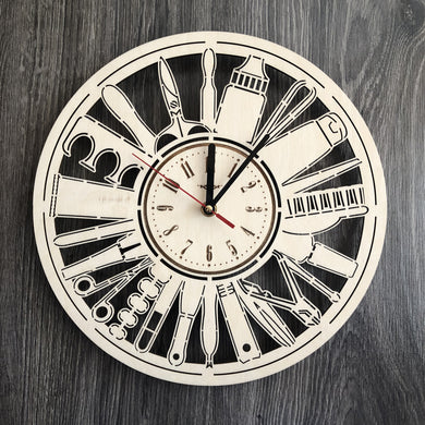 Manicure Pedicure Wall Wood Clock