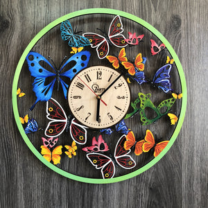 Painted Butterfly Wood Clock