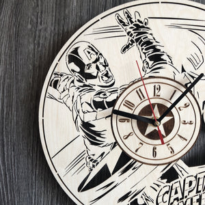 Captain America Wall Wood Clock