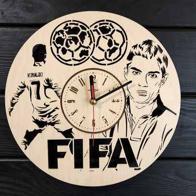 Fifa Cristiano Ronaldo Wall Wood Clock
