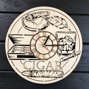 Cuban Cigars Wall Wood Clock