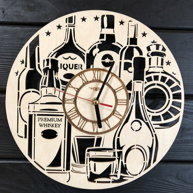 Alcohol Liquor Wall Wood Clock