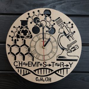 Chemistry Wall Wood Clock