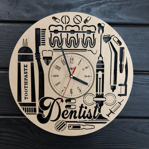 Dentist Wall Wood Clock