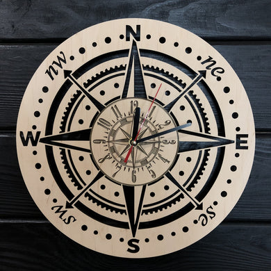 Compass Wall Wood Clock