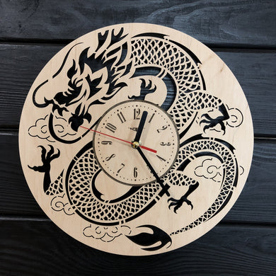 Japanese Dragon Wall Wood Clock