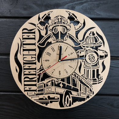 Firefighter Wall Wood Clock
