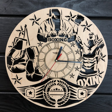 Boxing Wall Wood Clock