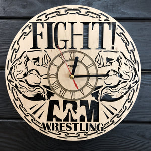 Armwrestling Wall Wood Clock