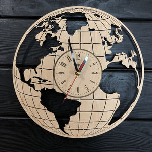 Map of The World Wall Wood Clock