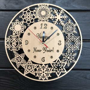New Year Wall Wood Clock