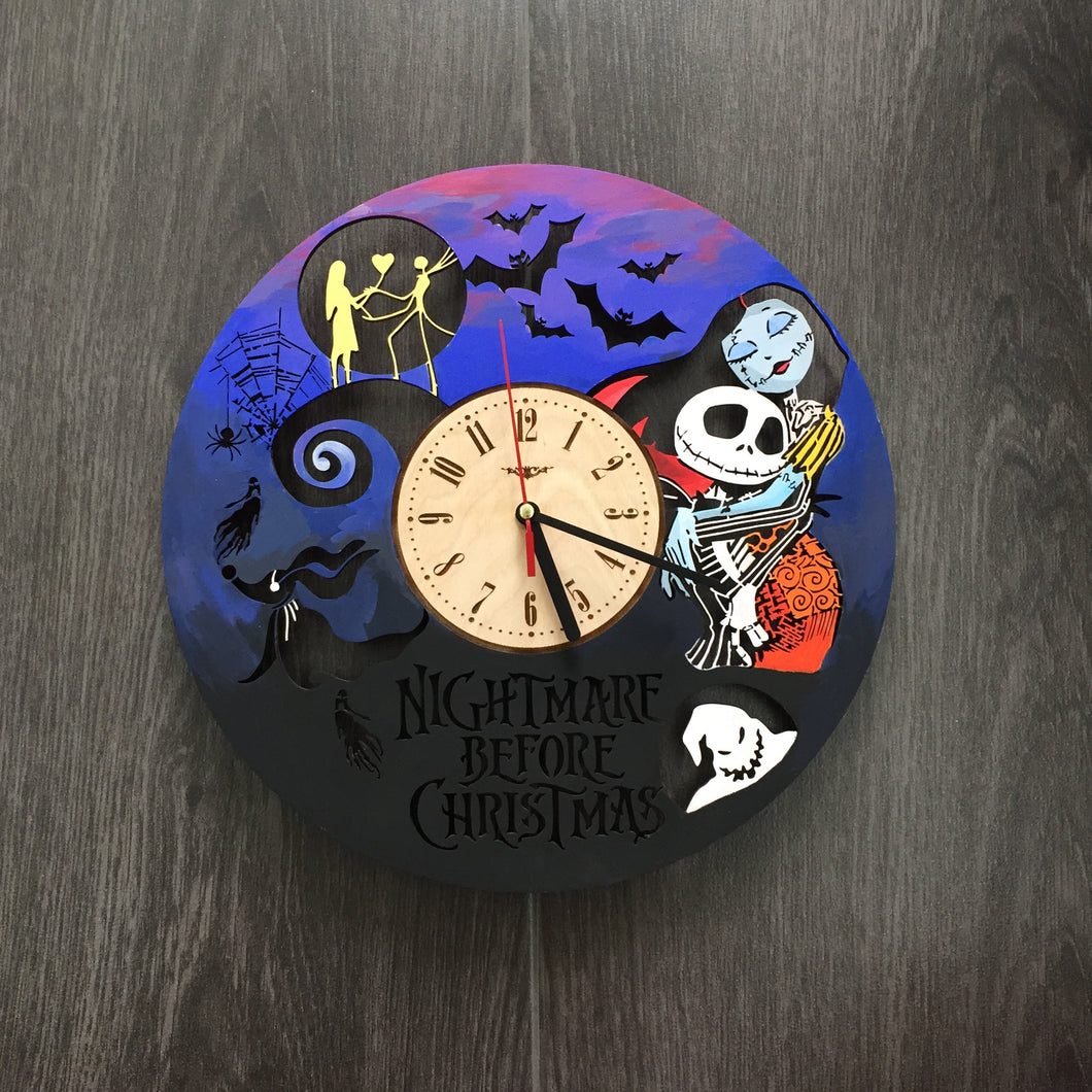 Painted Nightmare Before Christmas Wall Wood Clock – 7ArtsStudio