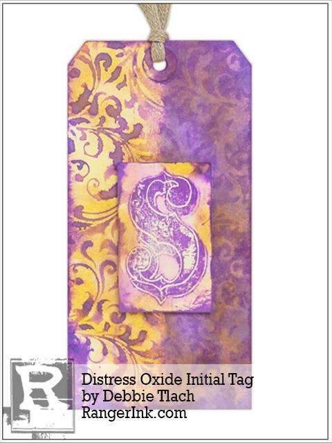 Distress Oxide Initial Tag by Debbie Tlach