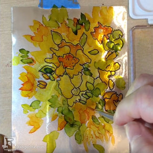 Alcohol Ink Flower Painting on Foil by Sharen AK Harris