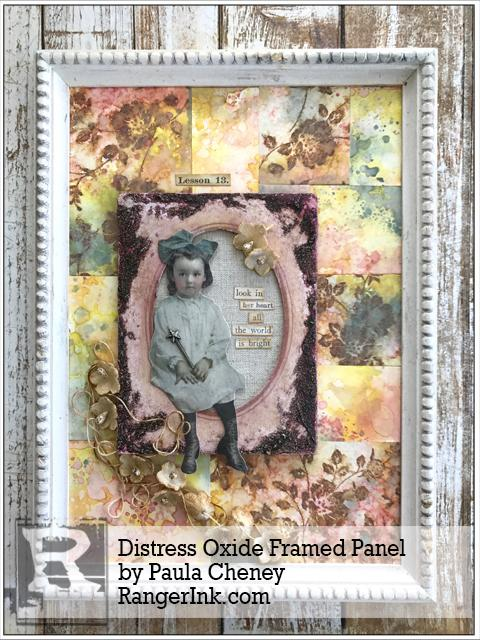 Distress Oxide Framed Panel by Paula Cheney