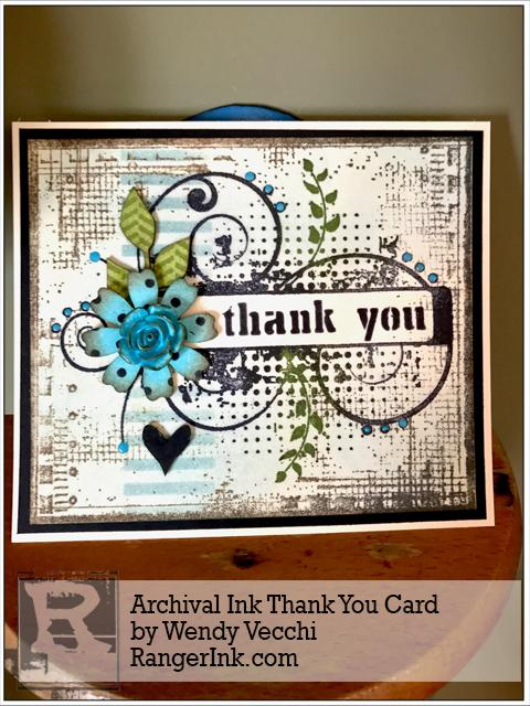 Archival Ink Thank You Card by Wendy Vecchi