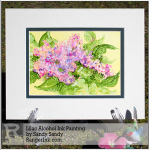 Lilac Alcohol Ink Painting by Sandy Sandy