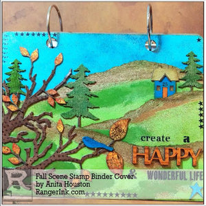 Fall Scene Stamp Binder Cover by Anita Houston