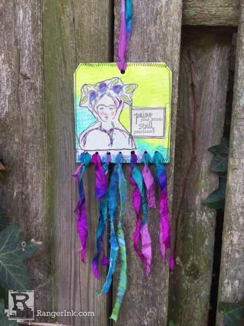 Frida Mixed Media Tag Hanging by Kristi Nazzaro