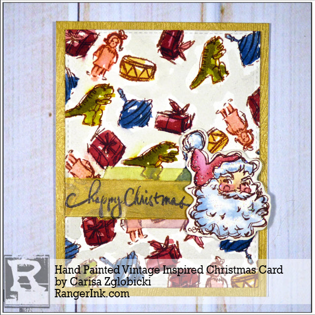 Hand Painted Vintage Inspired Christmas Card by Carisa Zglobicki