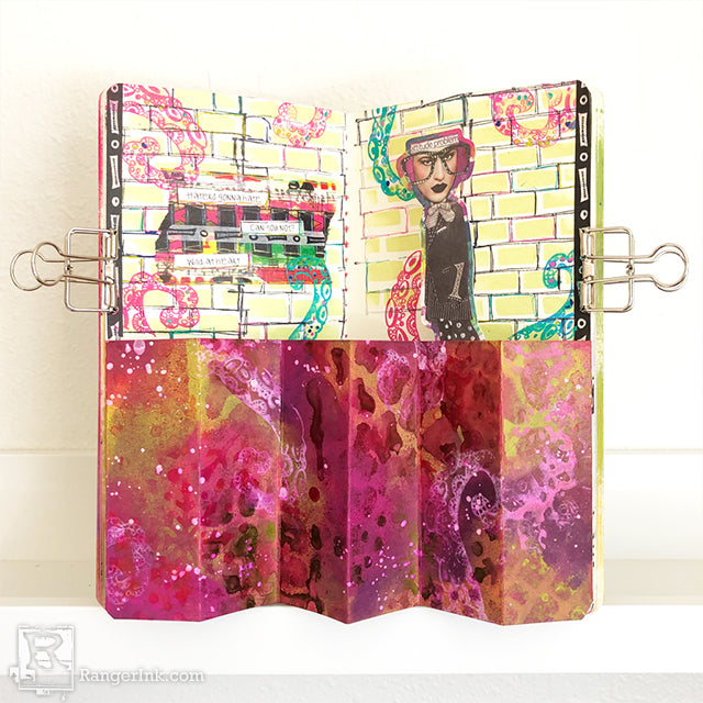 Dimensional Pop-Up Art Journal Page by Josephine Fourage