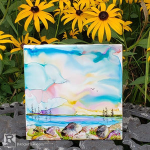 Alcohol Ink Ceramic Tile Landscape by Teresa Kovalak