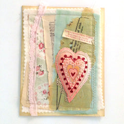 Clear Fabric Medium Heart Card