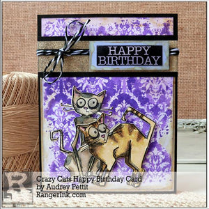 Crazy Cats Happy Birthday Card by Audrey Pettit