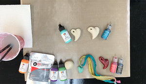 Debbie Tlach Painting QuickCure Clay with Dina Wakley MEdia Paint and ICE Resin® Lusters