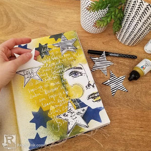 Star Peek-a-Boo Art Journal Page by Megan Whisner Quinlan