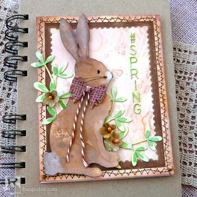 #Spring Rabbit Distress Card by Audrey Pettit