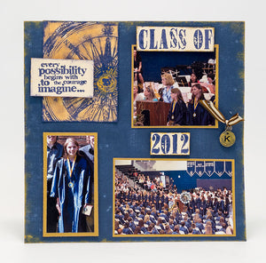 Distress Graduation Scrapbook Page