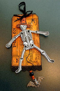 Distress Jointed Skeleton Halloween Tag