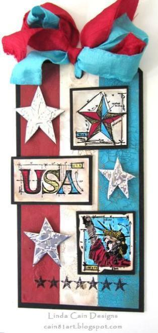 Distress Crackle Paint Stars and Stripes Tag